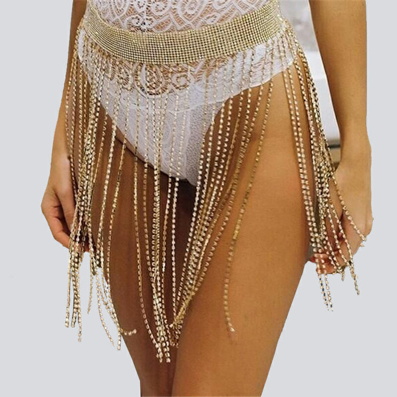 Body Jewelry Skirt Festival Rhinestone Body Chain Glitter Skirt Belt